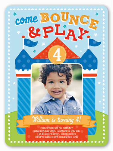 Birthday Invitation For 4 Year Old Boy Bounce House Fun 6x8 Invitations