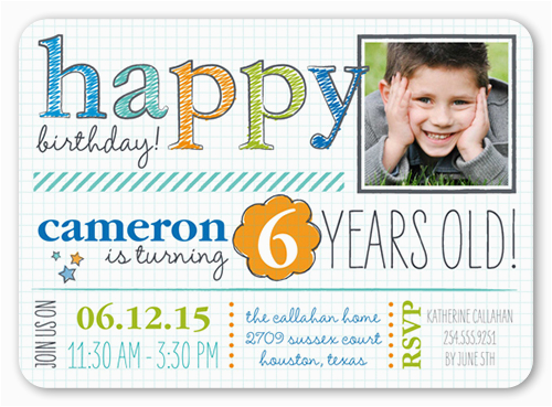 Birthday Invitation For 4 Year Old Boy Handwritten Happy Teenage Party Invitations