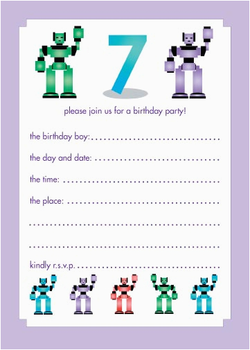 Birthday Invitation For 7 Years Old Boy 10 Childrens Party Invitations