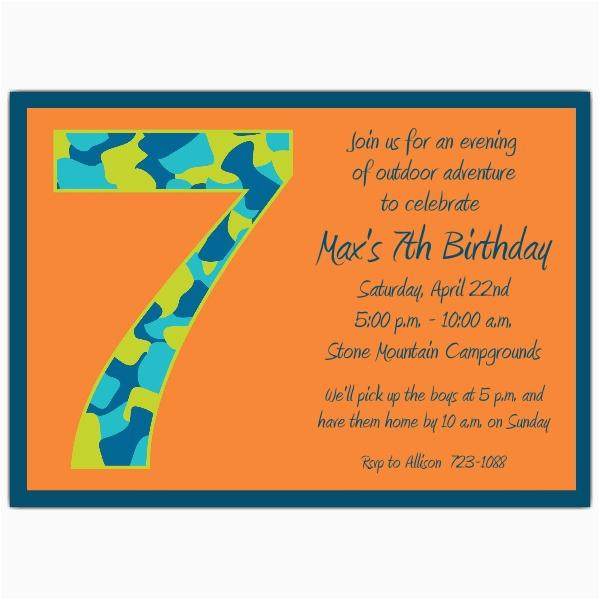 Birthday Invitation for 7 Years Old Boy Birthday Boy Camo 7th Birthday Invitations Paperstyle