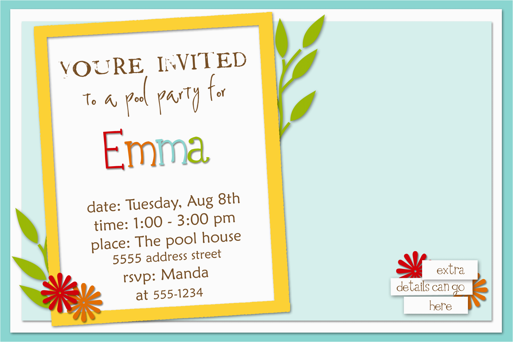 Birthday Invitation Letter For Kids Party Sample