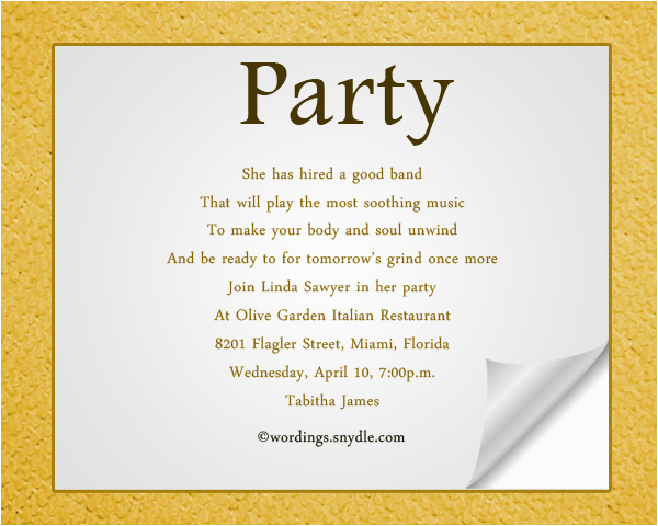 adult birthday party invitation wording