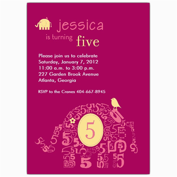 Elephant Girl 5th Birthday Invitations Paperstyle