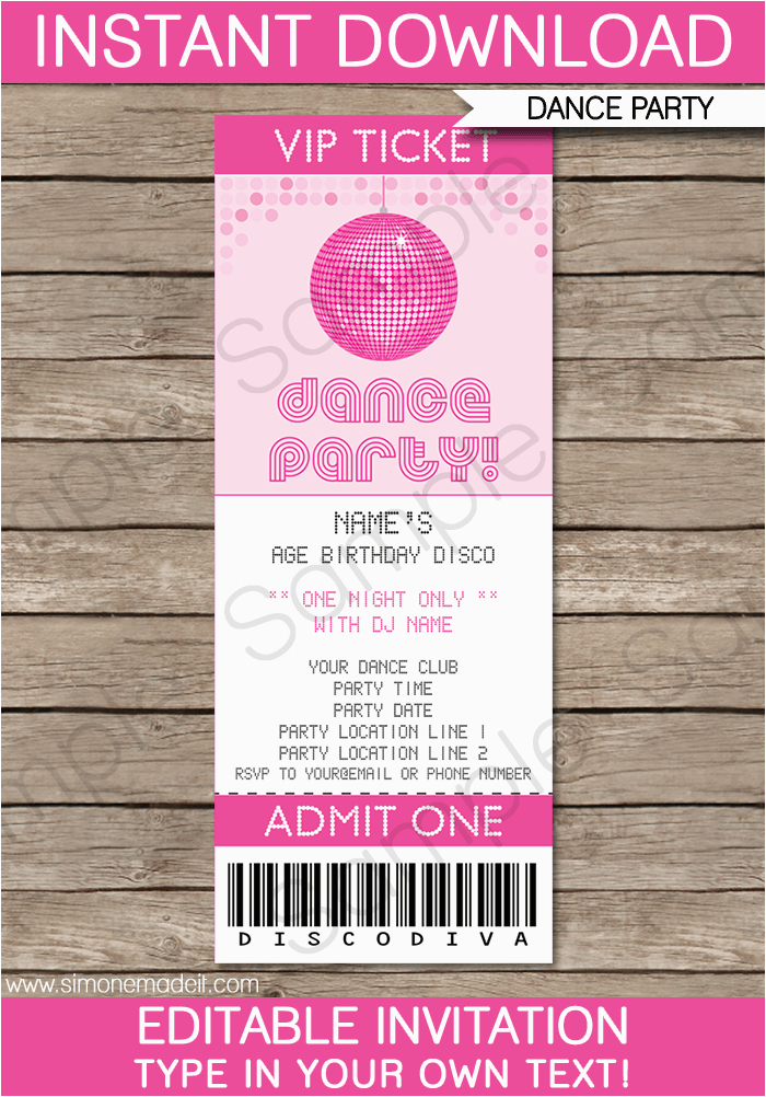 dance party ticket invitations birthday