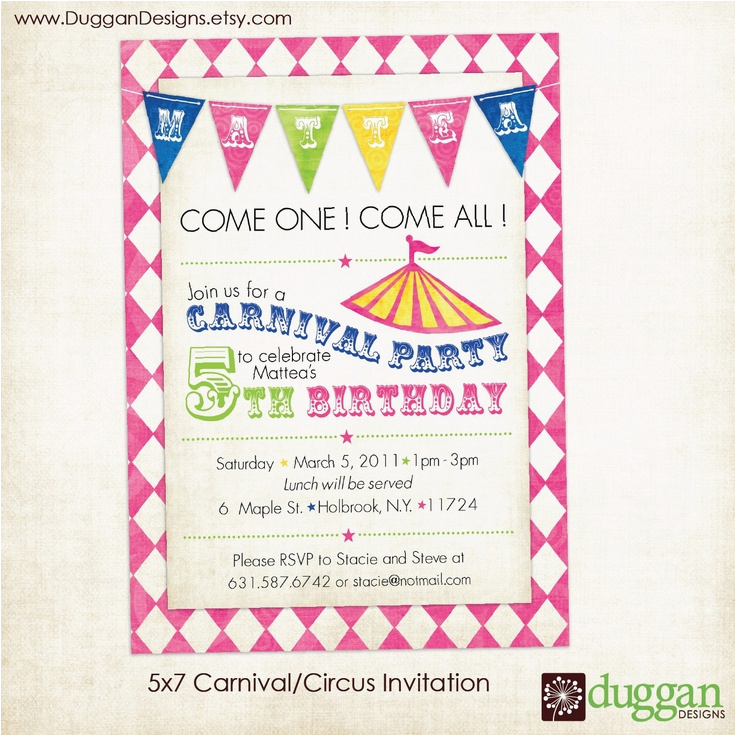 Birthday Invitation With Dress Code Free Printable Carnival Party Invitations