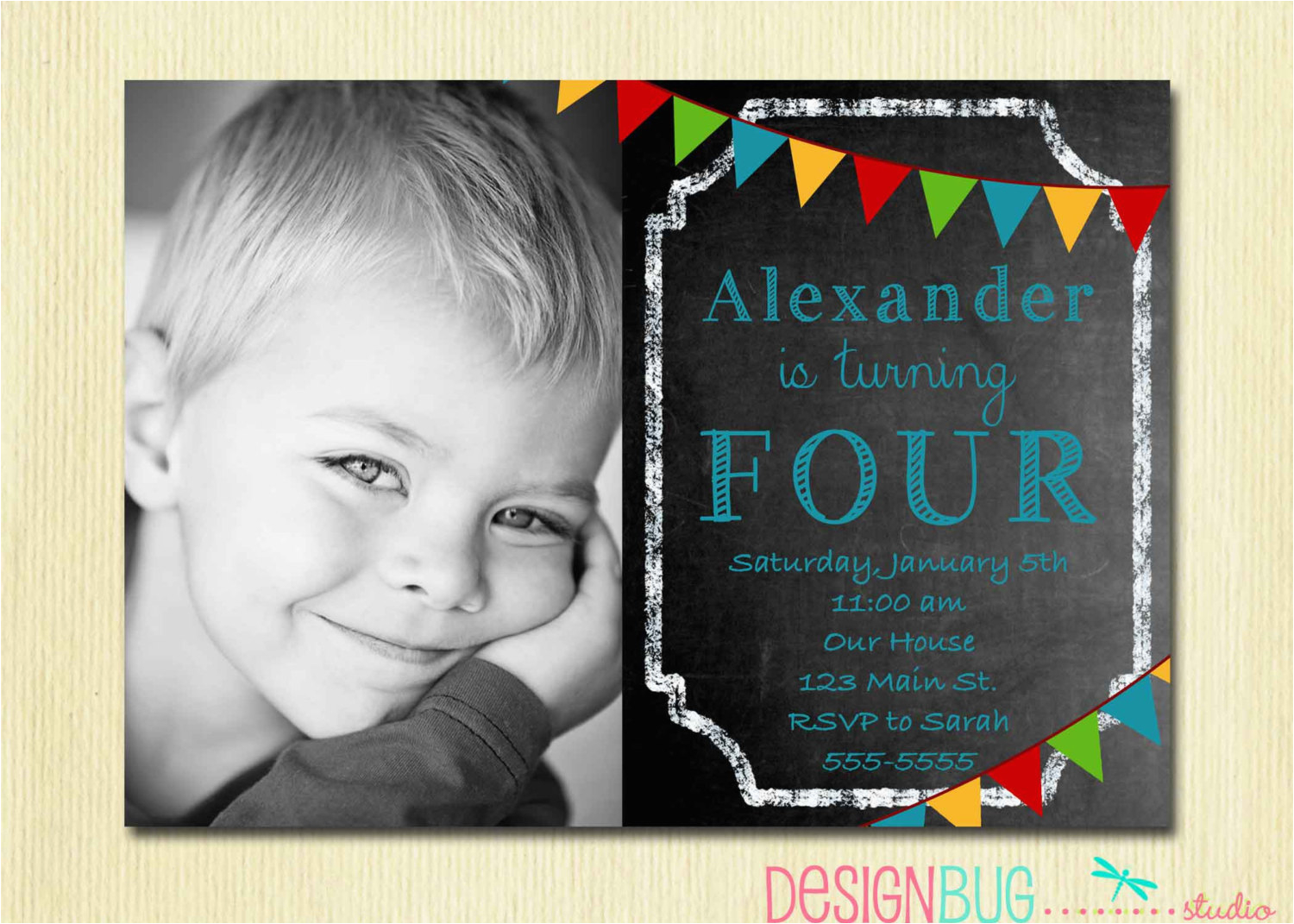 Birthday Invitation Wording For 3 Year Old Boy Boys Chalkboard 1 2 4