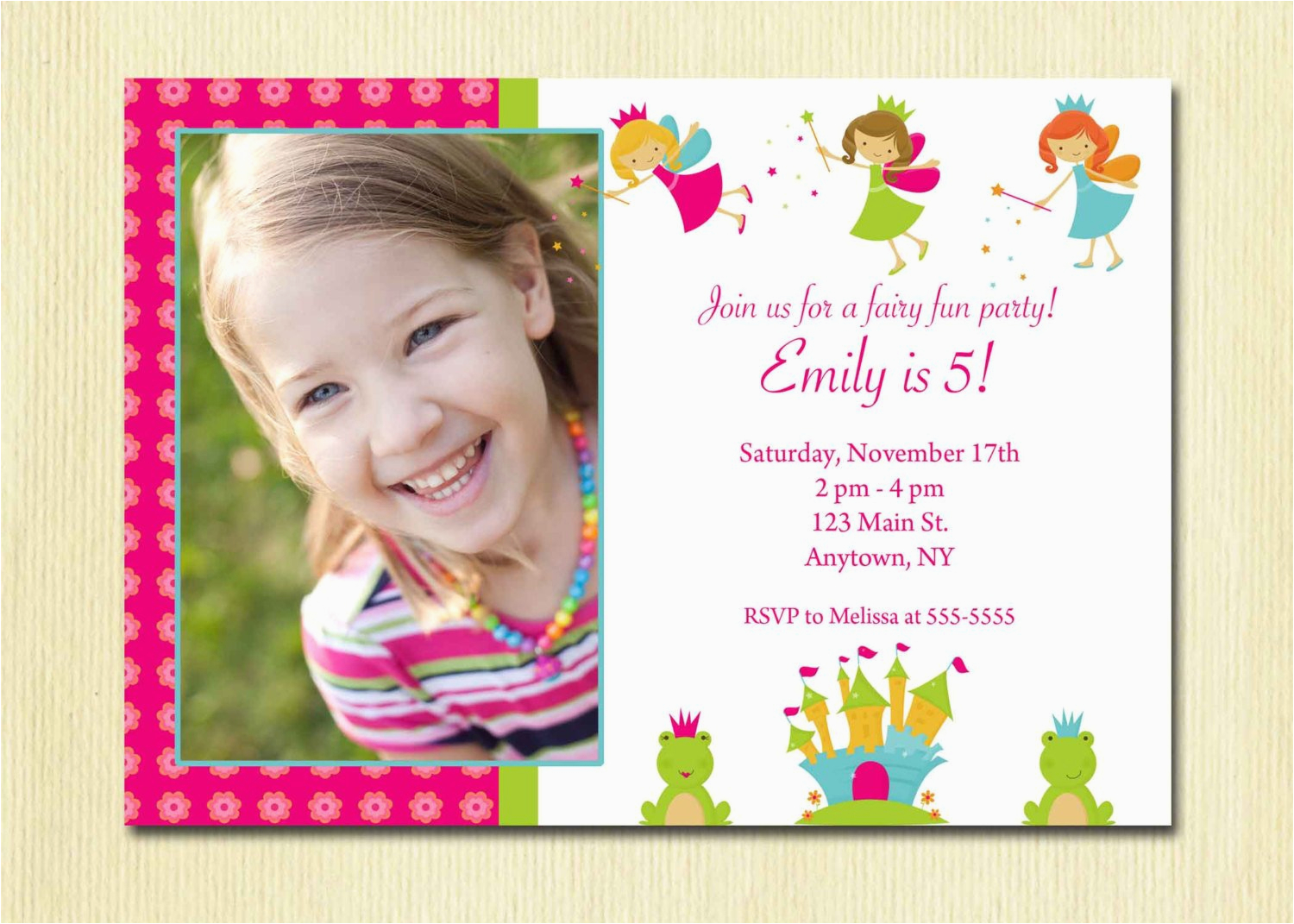 Birthday Invitation Wording For 3 Year Old Boy Fairy Princess Party Girls Diy Photo