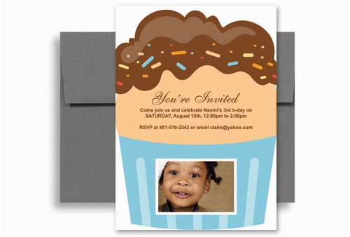 Birthday Invitation Wording For 5 Year Old Boy 3 Cupcakes Personalized