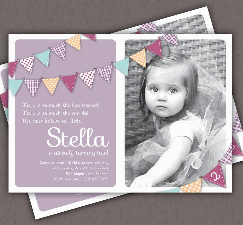Bunting Invitation Photo Printable Invite 1 Year Old 2 16 Best First Birthday Invites Sample