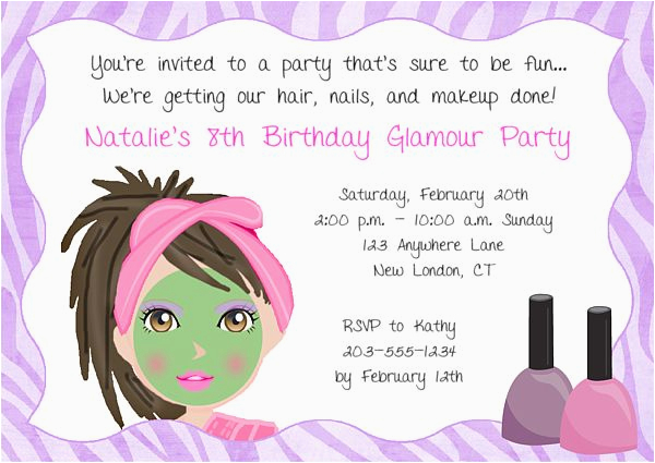 Birthday Invitation Write Up Girls Spa Party Invitation Wording Party Invitations