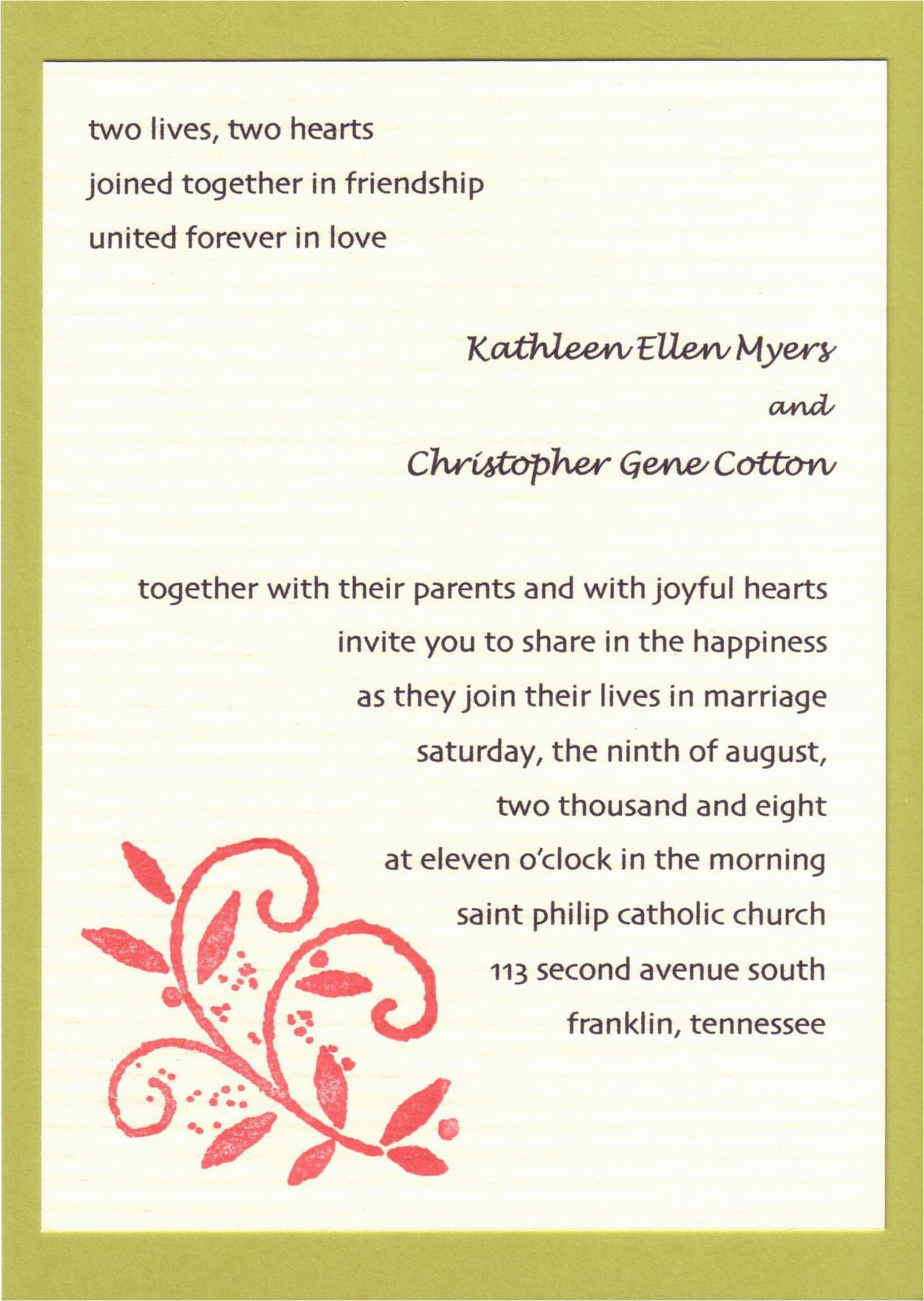 invitation card write up