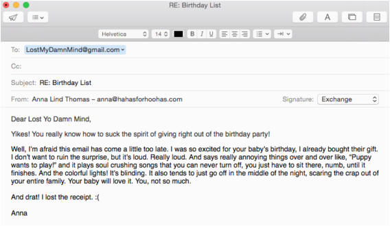 birthday invitation email