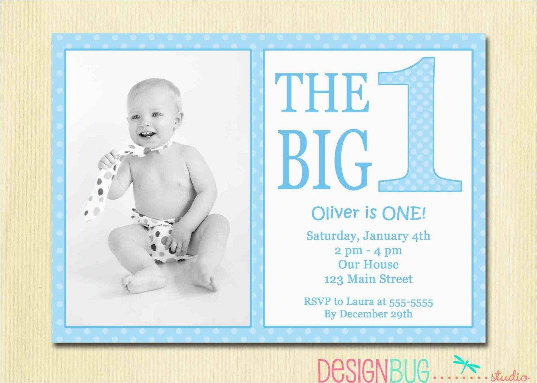 Birthday Invitations For 1 Year Old Boy The Big One First Baby Invitation Custom