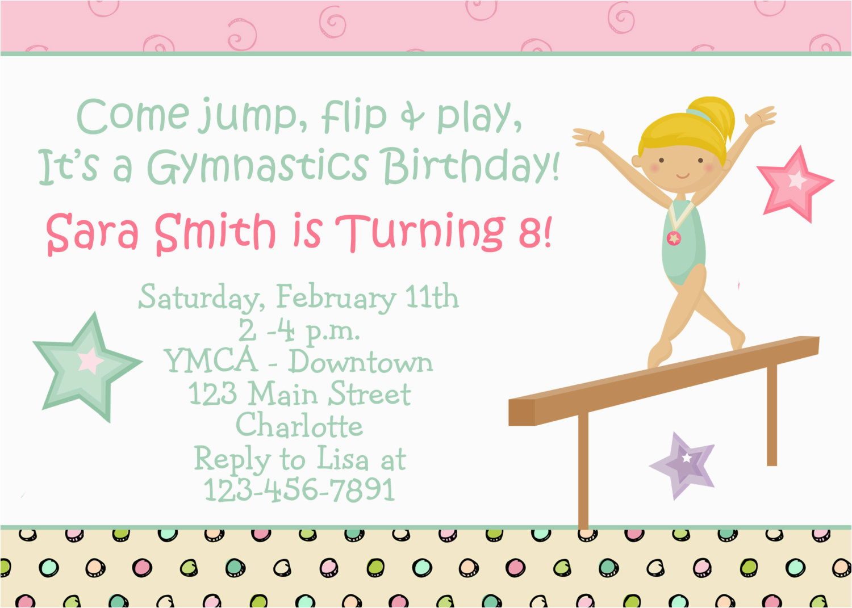 Birthday Invitations For 8 Yr Old Girl Invites Funny Kids Gymnastics Party
