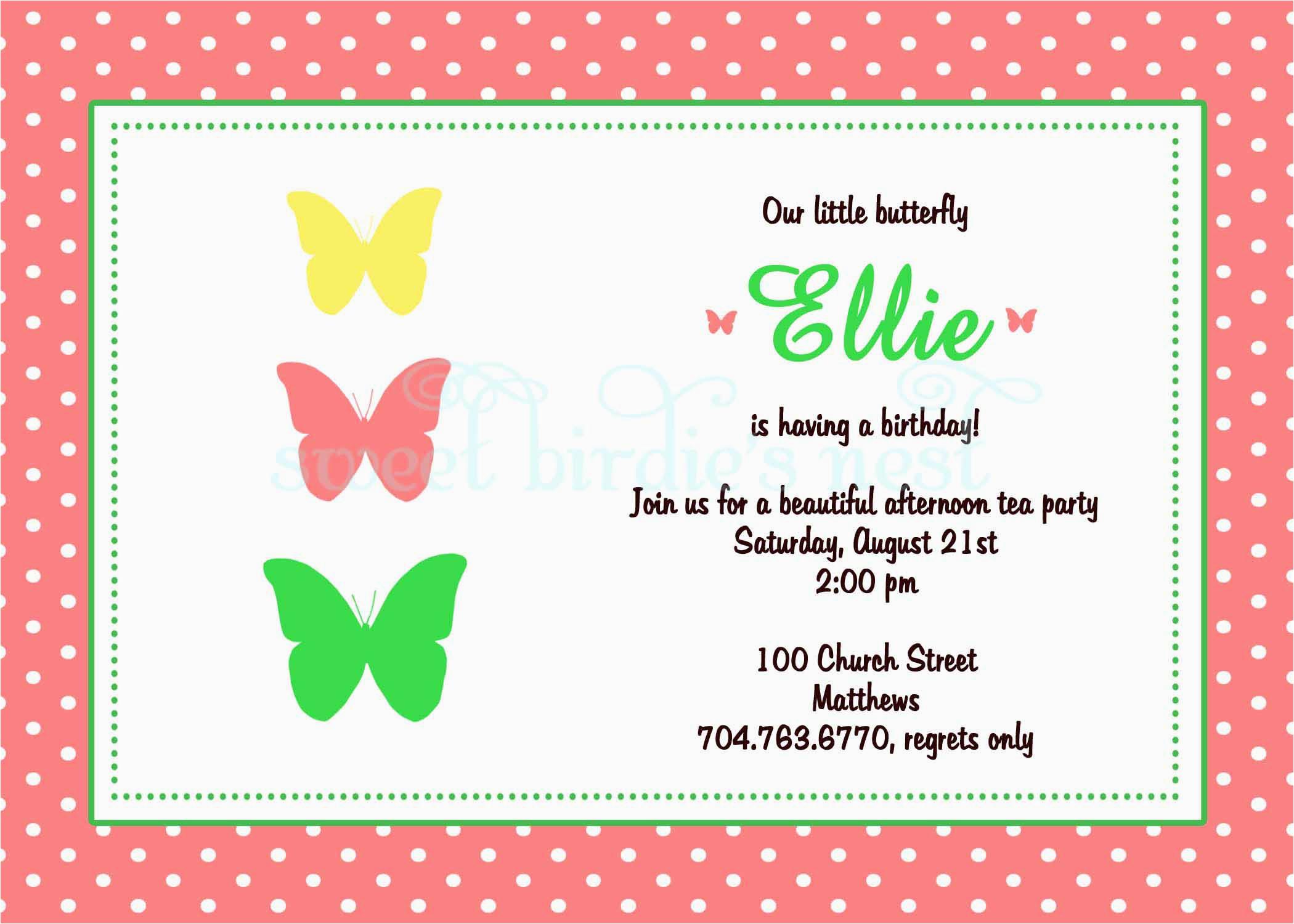 Birthday Invitations For 8 Yr Old Girl Invitation Sweet Birdie 39 S Nest