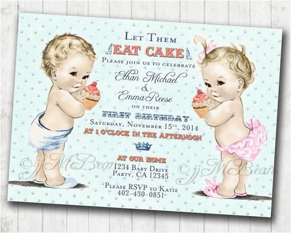 twins 1st birthday invitation for twins