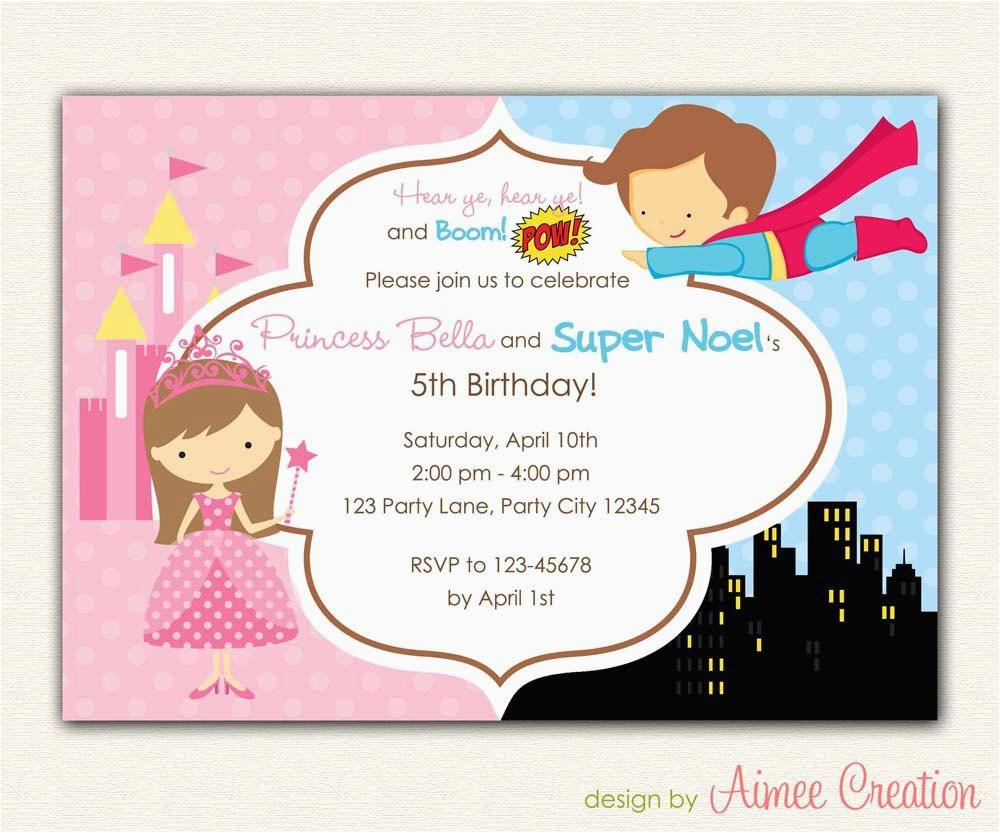 Birthday Invitations For Boy And Girl Princess Superhero Invitation Printable Diy