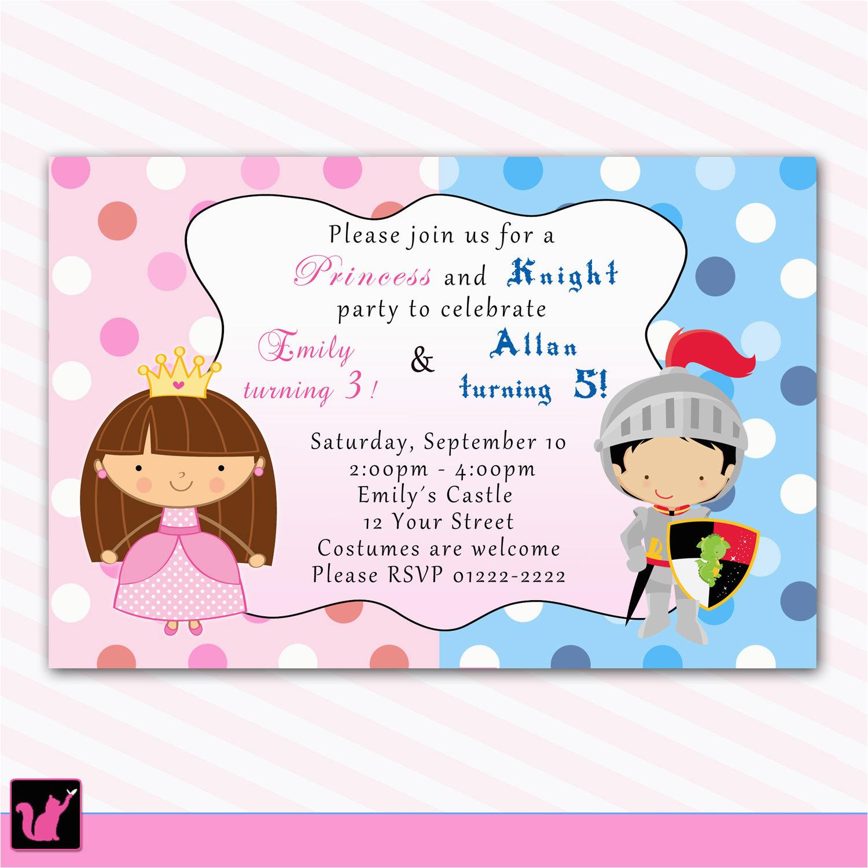 Birthday Invitations for Boy and Girl Princess Birthday Invitation Knight Polka Dots Siblings Boy