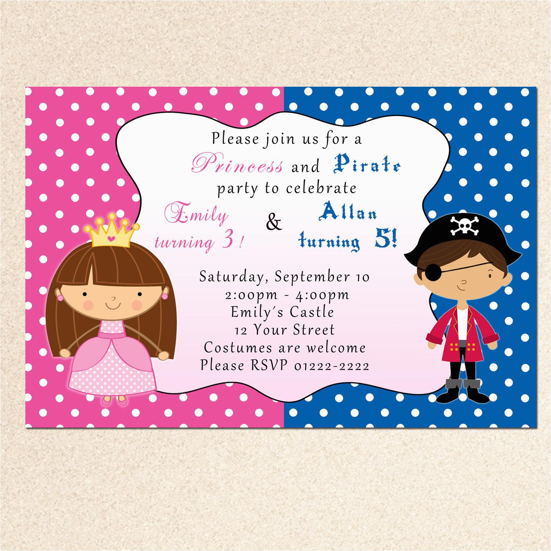 princess birthday invitation pirate girl