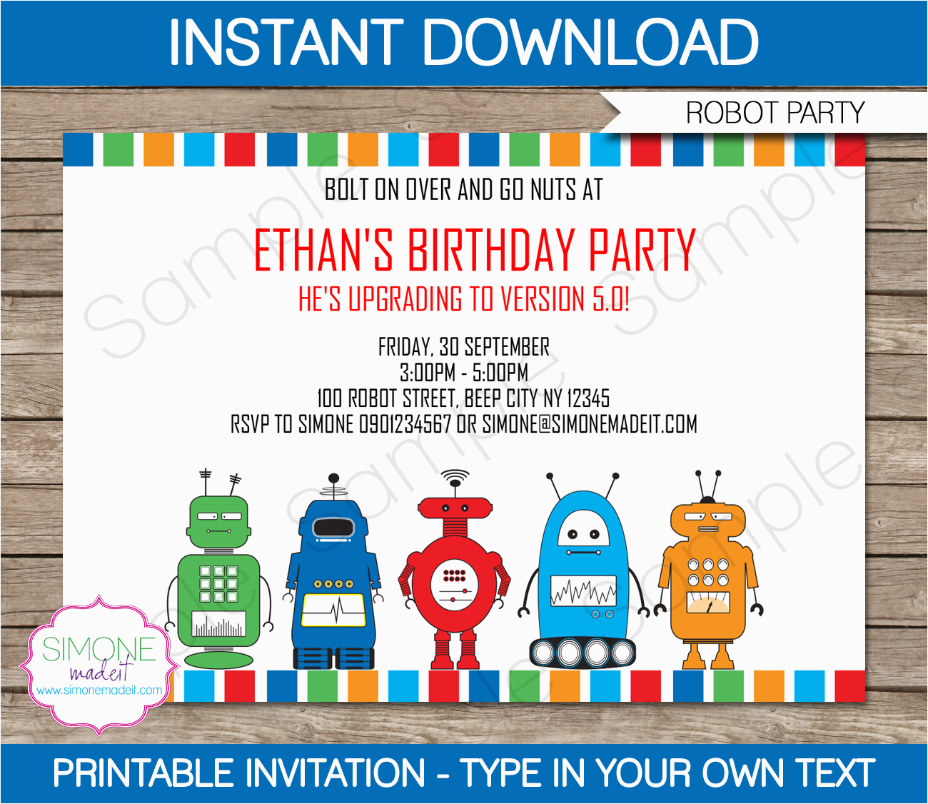 printable robot party invitations