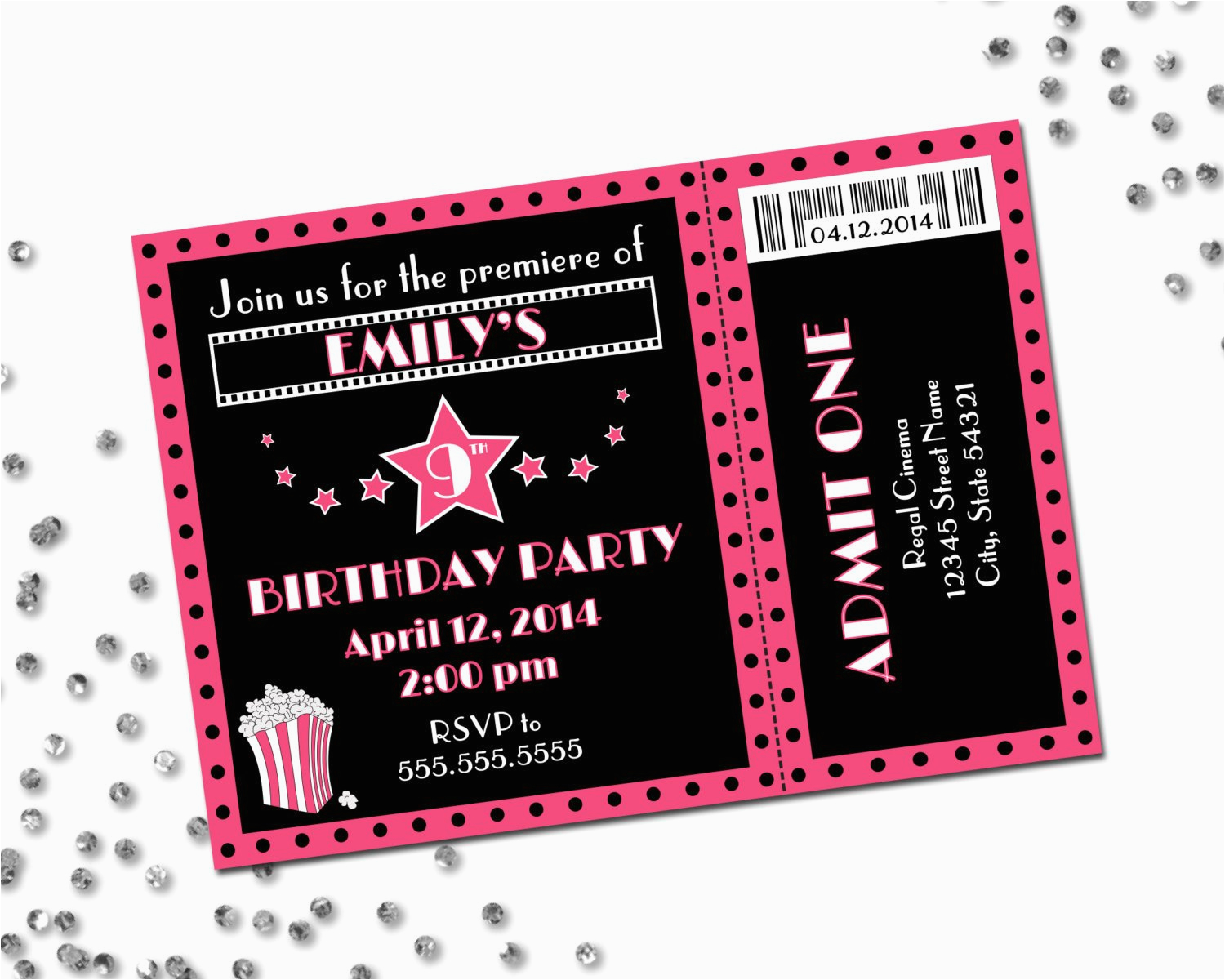 Birthday Invitations Movie Theme Party Invitation Pink And Black Diy