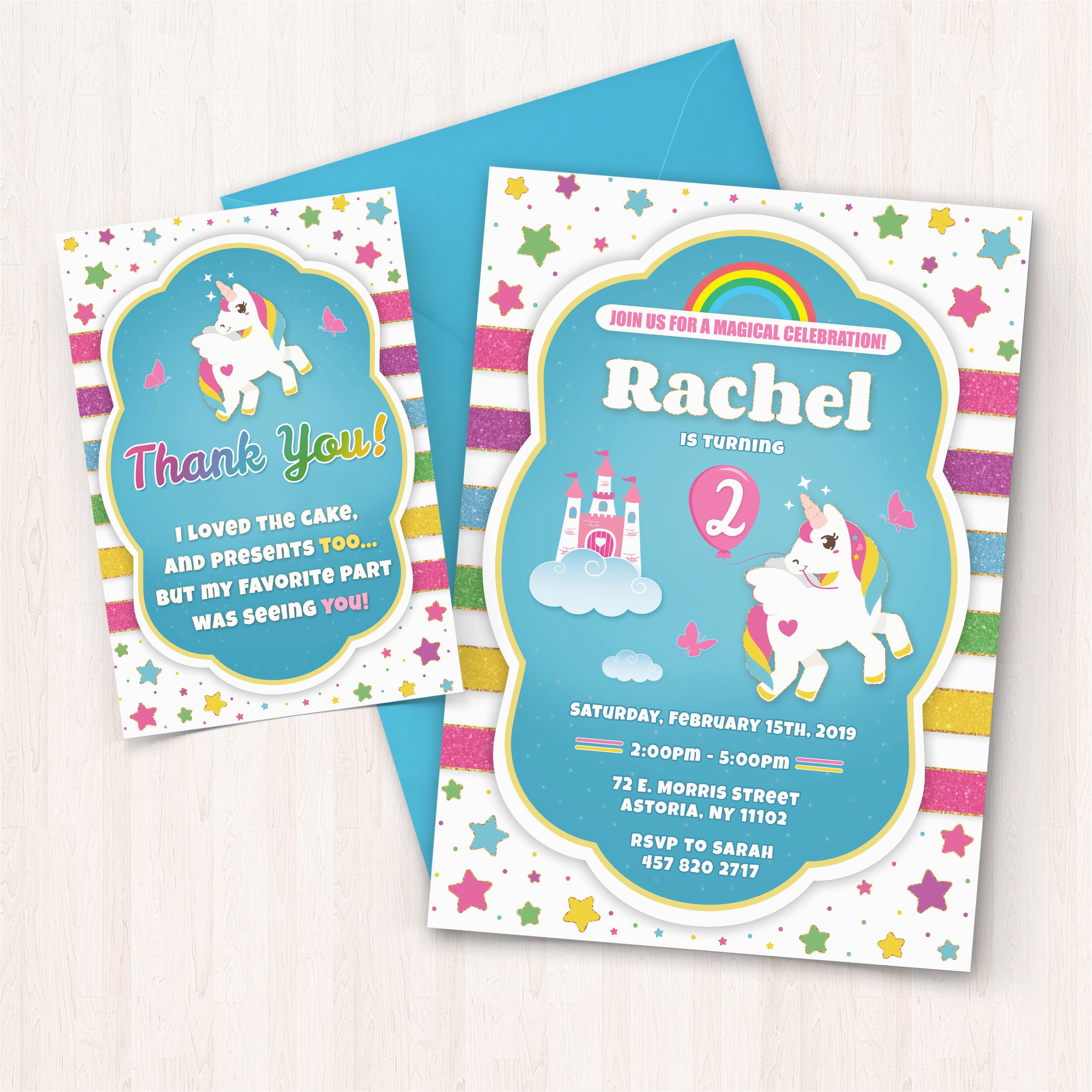 Birthday Invitations To Print At Home Printable Unicorn Free Thank You