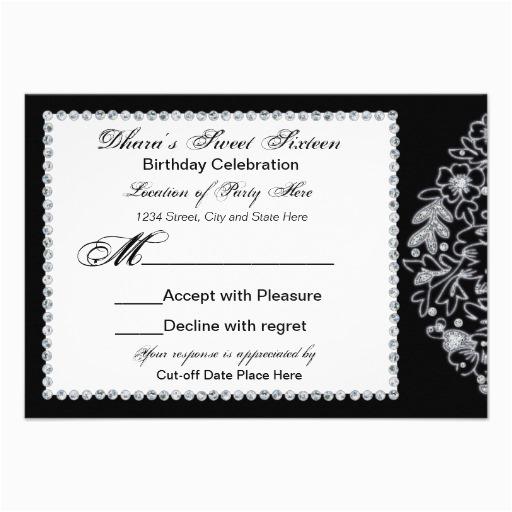 dharas 16th birthday rsvp cards invitation 161399547412204633