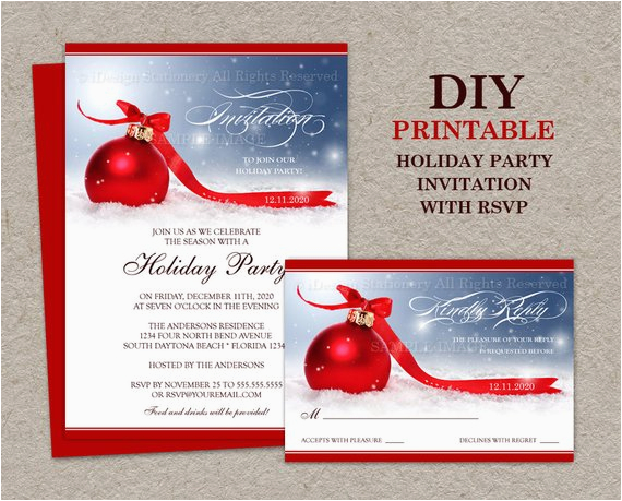 Birthday Invitations With Rsvp Cards Items Similar To Christmas Party Invitation Card