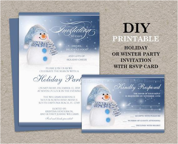 Birthday Invitations With Rsvp Cards Snowman Holiday Party Invitation Card Printable