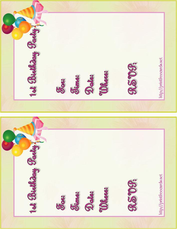 Birthday Invite Cards Free Printable Kids Invitations Children 39 S