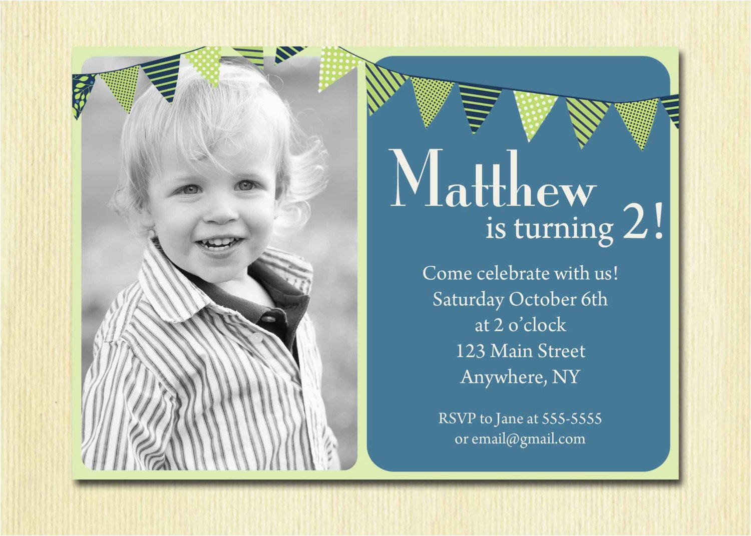 Birthday Invite For 2 Year Old First Baby Boy Invitation 1st 2nd 3rd 4th