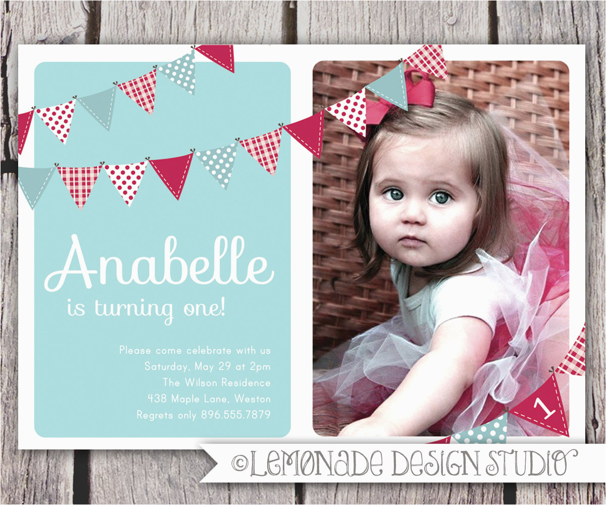 Birthday Invite For 2 Year Old First Invitation Bunting Flags Banner Photo Printable