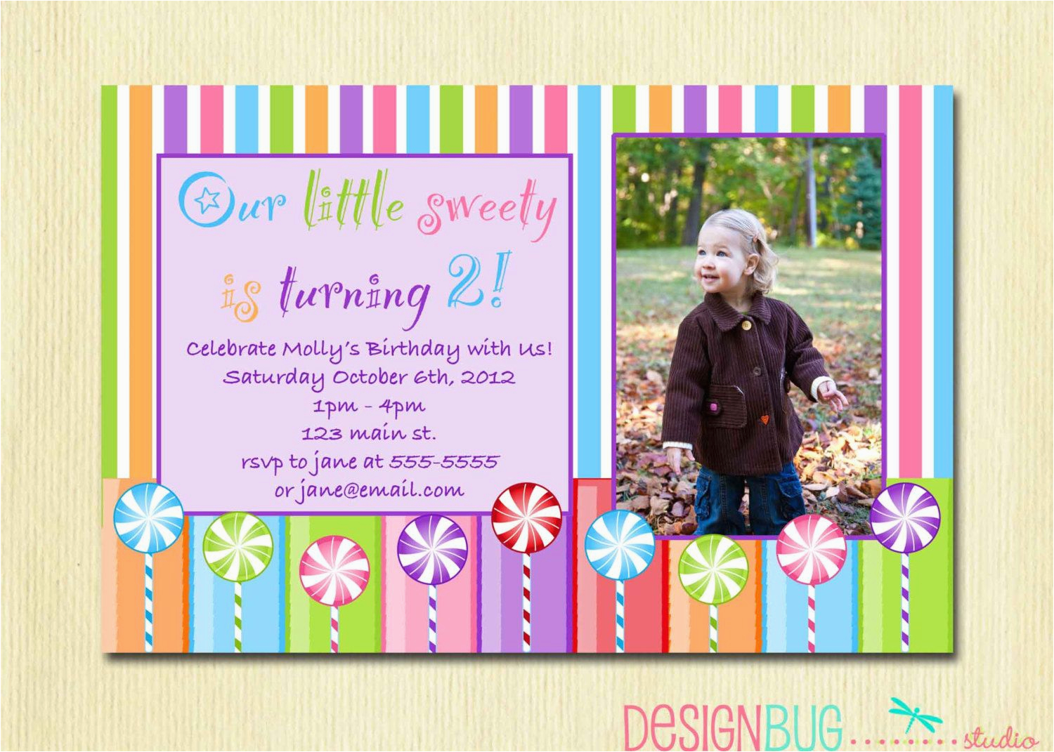 Birthday Invite For 2 Year Old Girls Lollipop Party Invitation Diy Printable