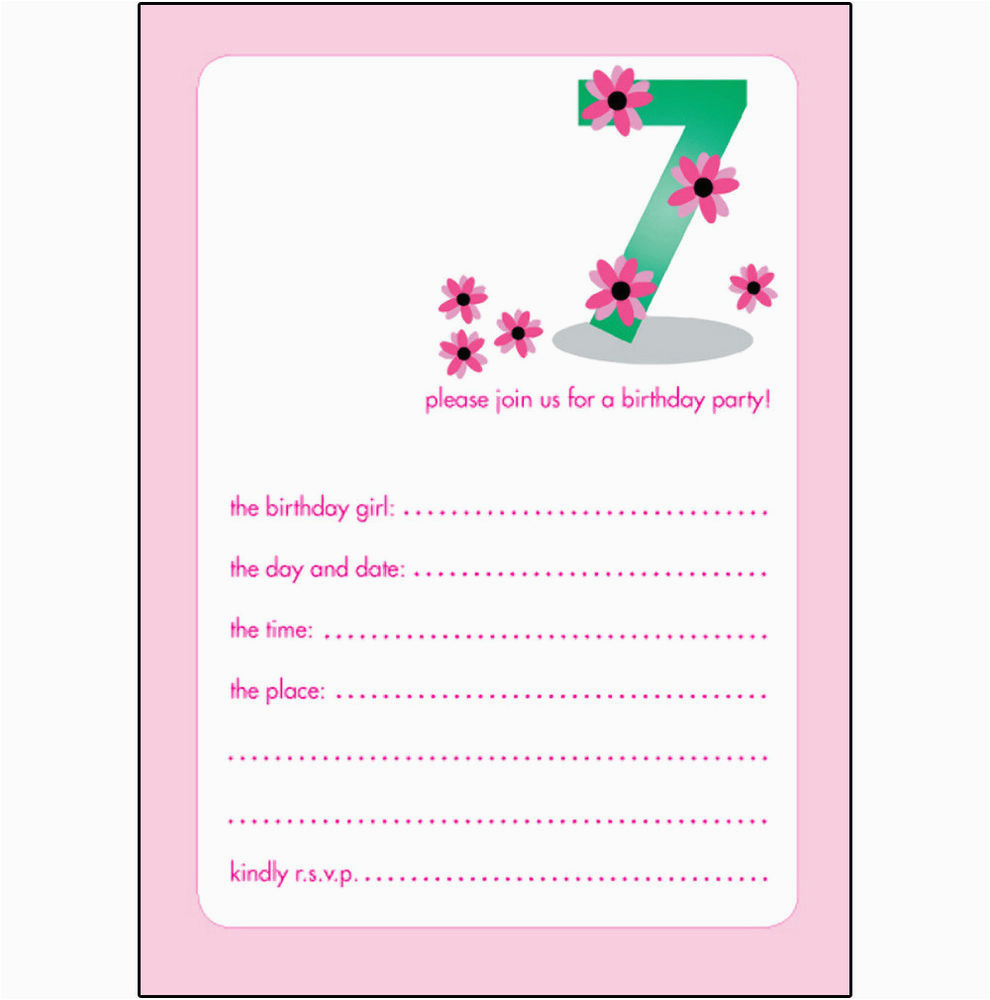 Birthday Invite Wording For 7 Year Old 10 Childrens Party Invitations Years Girl
