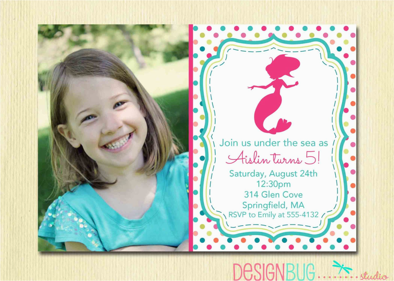 Mermaid Birthday Invitation 1 2 3 4 5