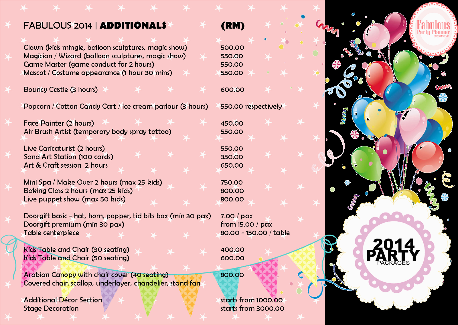 birthday party packages 20