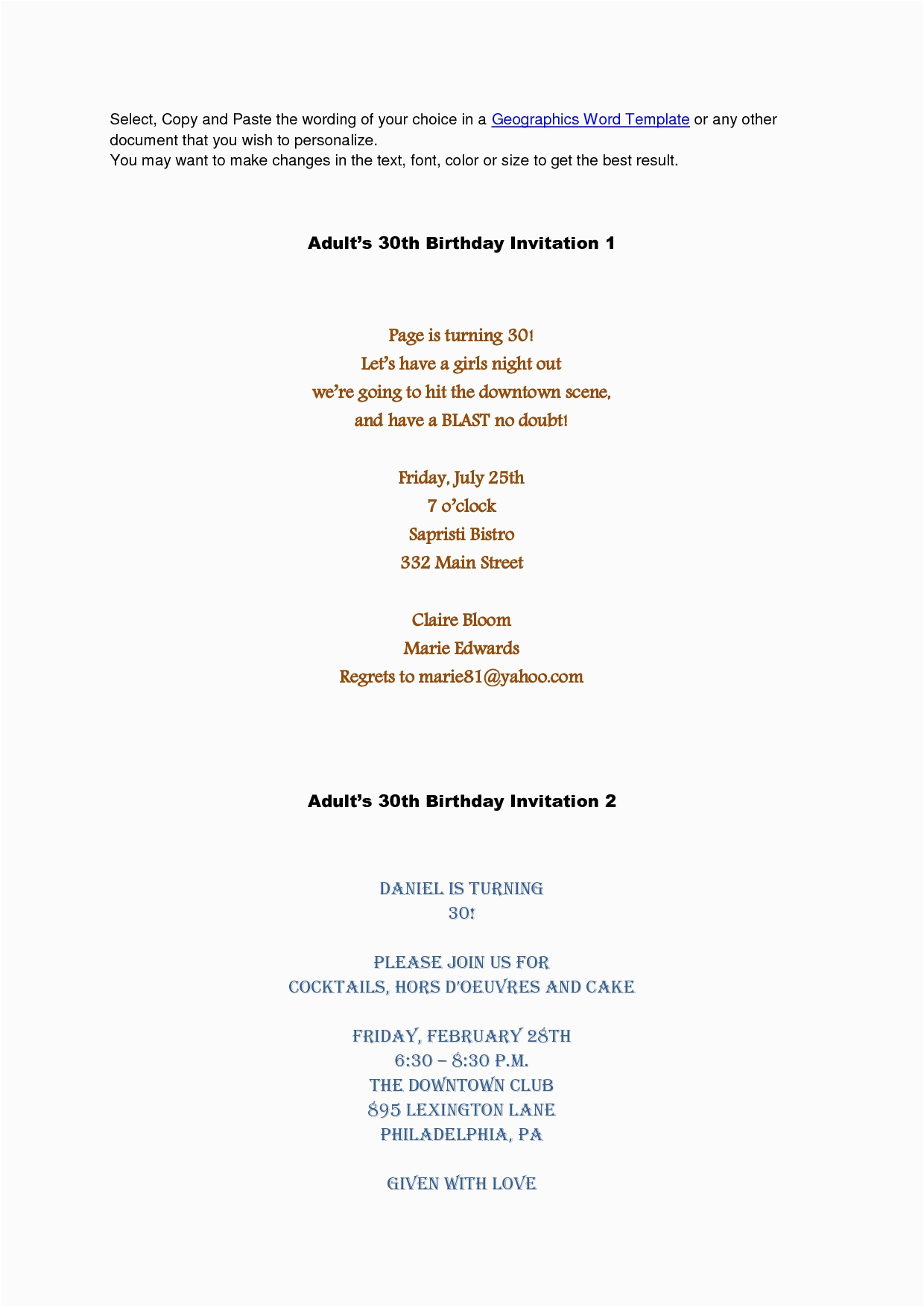 Birthday Party Invitation Message For Adults Adult Wording Template Resume Builder