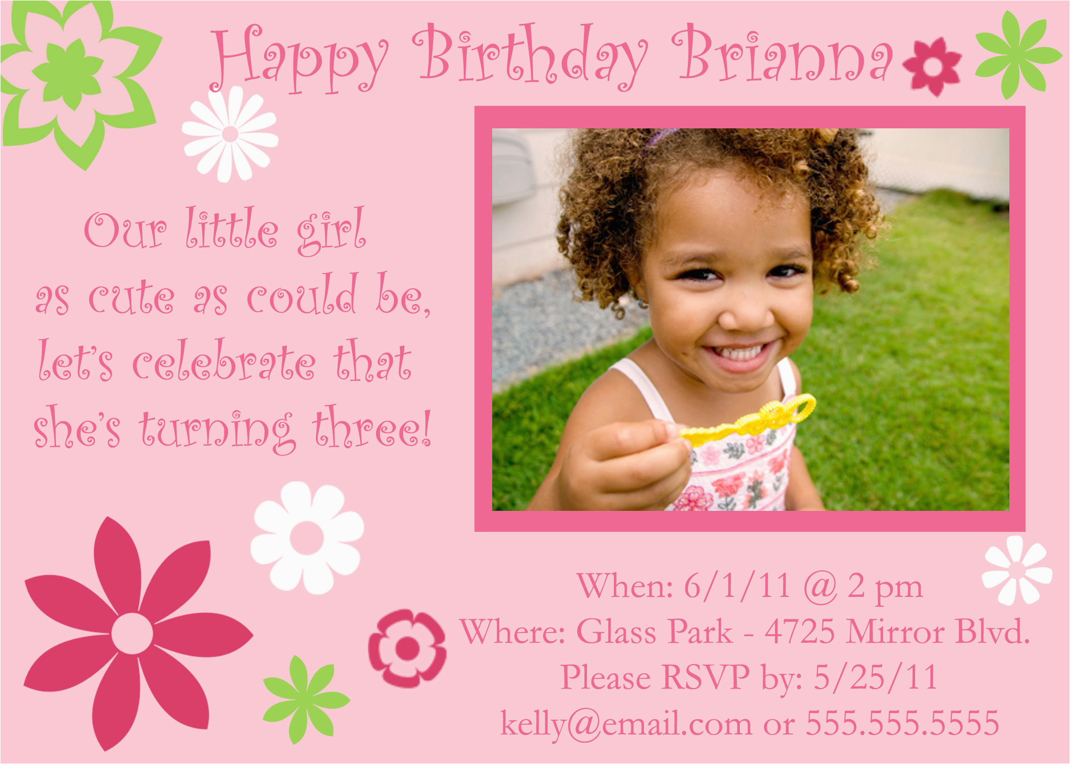 Birthday Party Invitation Wording For 3 Year Old Pink Flowers Element 120 Designs