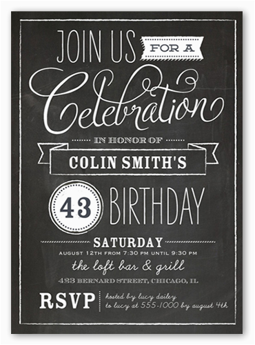chalkboard wishes birthday invitation 5x7 flat