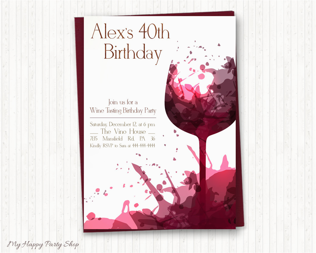 Birthday Party Invites For Adults Wine Invitations Adult Tasting