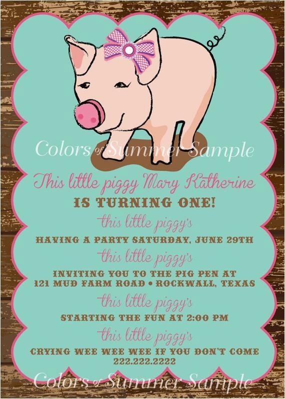 piggy invitation this little piggy poem birthday invitation