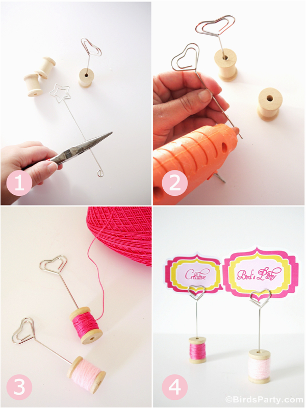 diy cotton reel place card holders