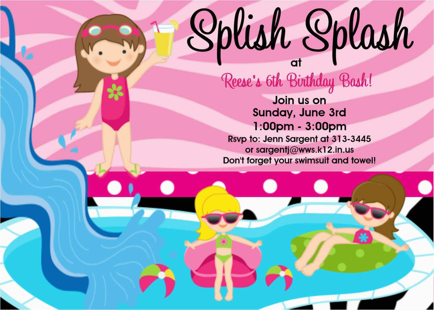 Birthday Pool Party Invitation Wording 13th Ideas Bagvania Free