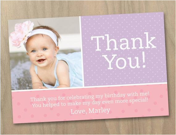 thank you photo card baby girl first 1st