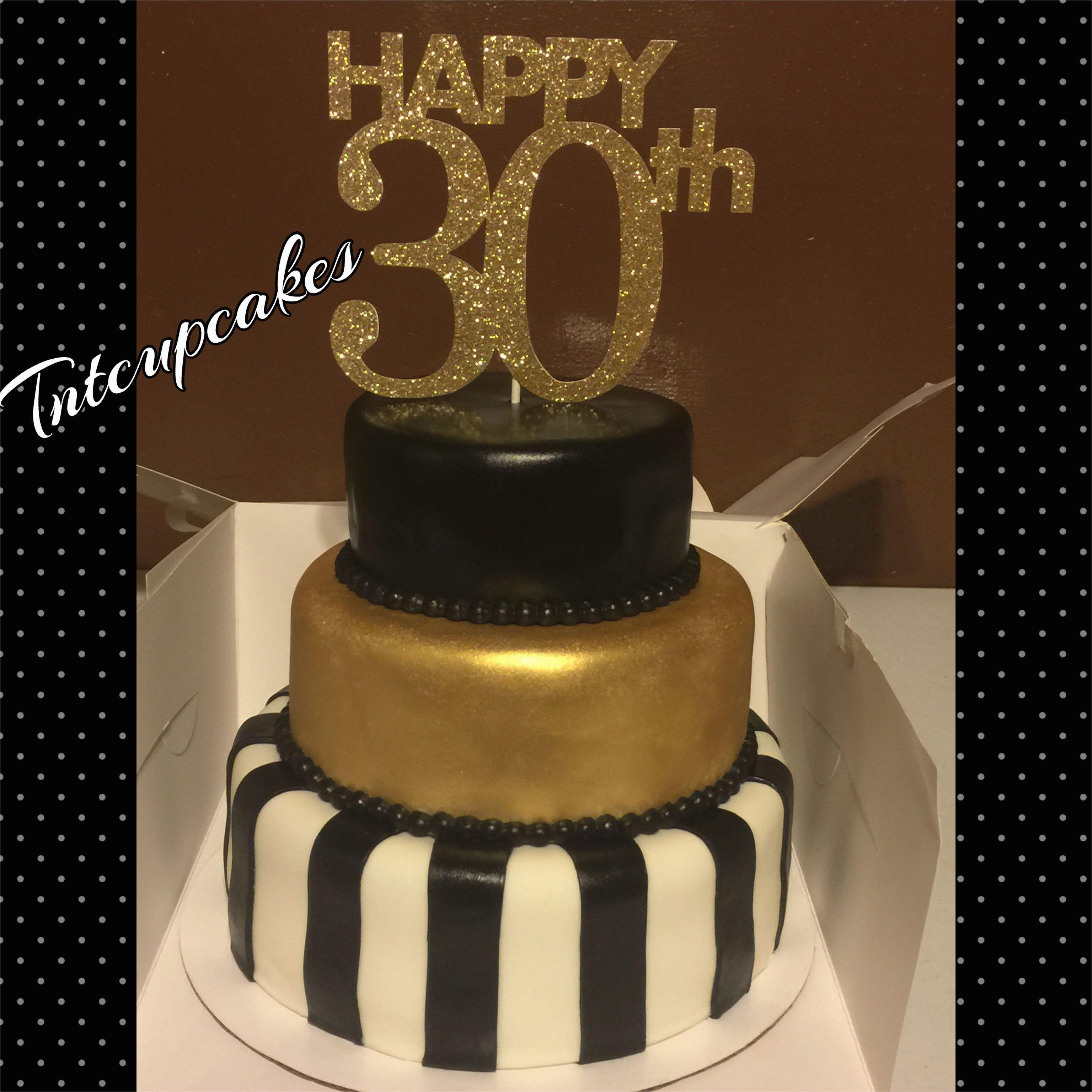 Black And Gold 30th Birthday Decorations 30th Birthday Cake Black