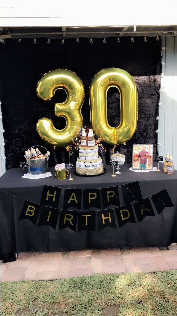 Black And Gold 30th Birthday Decorations Party Ideas Men Beer