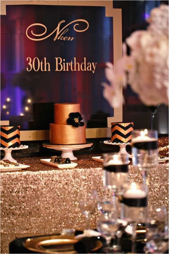 Black And Gold 30th Birthday Decorations Party Inspiration Aisle Perfect