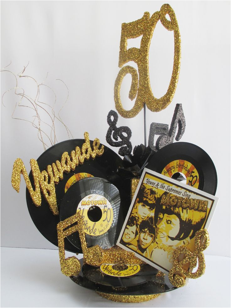 Black And Gold 50th Birthday Decorations Centerpieces Using Record Albums Motown