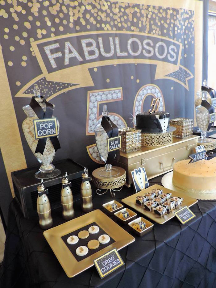 Black And Gold 50th Birthday Decorations Kara 39 S Party Ideas Fabulous