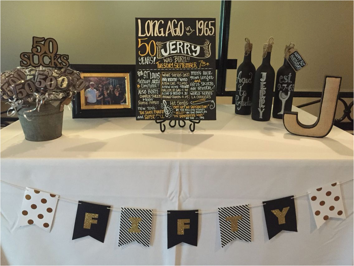 Black And Gold 50th Birthday Party Decorations Surprise Male